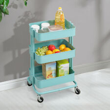 Kitchen Trolley Cart Storage Rack Trolley With Wheels Food Holders Home Blue NEW