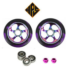 1 pair pro scooter wheels metal core neochrome purple 110mm 88a abec 11 bearings