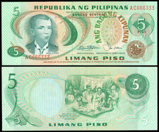 ABL Philippines 5 Pesos RED FANCY Serial No AC 666333 Banknote