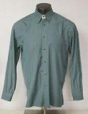 Mens Canali Long Sleeve Button Front Dress Shirt Size 40 Green Formal Cotton