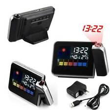 LED LCD Digital Projection Weather Station Calendar Snooze Projector Alarm Clock
