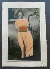 Vintage Antique Hand-Tinted Colour PHOTO POSTCARD. c.1930's. Girl with a Muff.