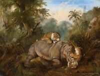 SALEH FIGHT BETWEEN TWO TIGERS AND A JAVA RHINO   POSTER ART PRINT HP3452