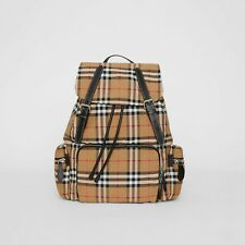 BURBERRY 8005141 LARGE RUCKSACK IN VINTAE CHECK NYLON ANTIQUE YELLOW