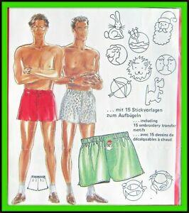BOXERS Pattern MENS Underwear Loungewear NOVELTY Embroidery Burda 5229 Sewing