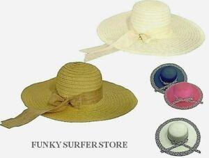 WOMENS RIBBON WIDE BRIM STRAW HAT FLOPPY SUMMER SUN BEACH FORMAL WEDDING HATS