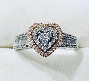 10k White Gold Rose Gold Diamond Heart Shaped Ring Band Size 7