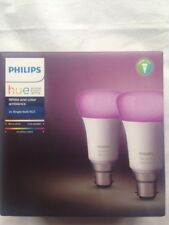 Philips Hue White & Colour Ambience B22 Light Bulb Twin Pack Wireless 9.5W 3rd G