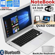 """14"""" Inch Quad Core Laptop 32GB eMMC 2GB RAM 1.92Ghz Intel Notebook PC Windows 10"""