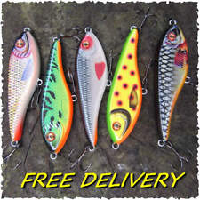 2 x Realscale motion buster jerk bait lure rattle pike perch free hook guards !
