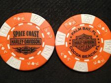 "Harley Poker Chip (Orange & White) ""Space Coast"" Palm Bay / Cocoa Beach, Florida"