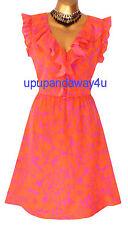 BNWT Monsoon JAGGER arancione e rosa abito taglia 20 SPLENDIDA Luce & fluttuante
