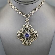 Vintage Jerusalem Cross Necklace with Synthetic Alexandrite in Silver