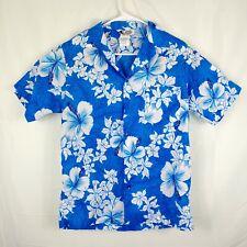 New listing Hilo Hattie Mens Blue Hawaiian Shirt Floral Print Size Medium Polyester