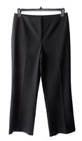 Lafayette 148 Size 8 Black Virgin Wool Blend Straight Leg Career Trouser Pants