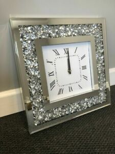 MIRROR CRUSHED DIAMOND SILVER CRUSHED CRYSTAL FILLED SPARKLY 30X30CM WALL CLOCK