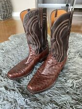 Lucchese Mens' Sienna Full Quill Ostrich Medium Square Toe Cowboy Boots
