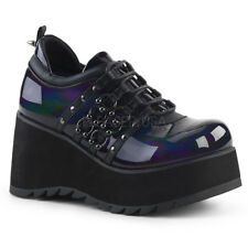 Demonia SCENE-31 Women's Black Hologram Vegan Leather Platform Lace-Up Booties