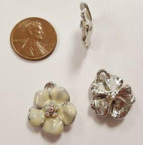 1 Retro Enamel Flower Crystal AB Rhinestone Silver 17mm. Bead Charm Pendant E220