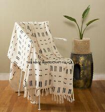 Hand Block Printed Reversible Sofa Throw Blanket Bed Cover Picnic Rug Tapestry