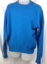 Vintage PENDLETON Size XL Shetland 100% Virgin Wool Blue Crewneck Sweater Defect