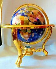 Large Semi-Precious Gem Lapis Gemstone Art World Globe Brass Stand w/ Compass