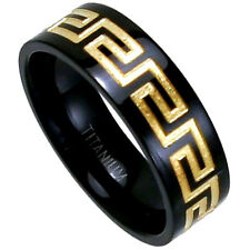 Black Plated Titanium RING BAND with Gold Plated Antique Accent, size 13