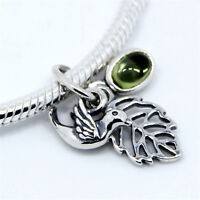 GENUINE .925 STERLING SILVER Forest Trinity European PENDANT Bracelet CHARM BEAD