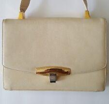 Vintage KORET Jackie O' Cream Leather w/ Gold Accents Purse/Handbag & Coin Purse