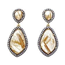 Rarities Carol Brodie Golden Rutilated Quartz and White Zircon Drop Earrings HSN