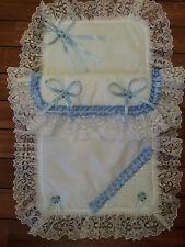 Stunning Romany White/Blue Pram Set with Lace,Satin&SWAROVSKY CRYSTALS