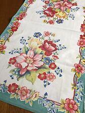 Vintage 40's-50's Florals W/ Turquoise Kitchen * Tea * Towel * Runner 28.5x15.5