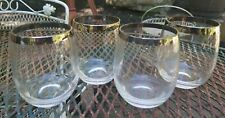 Set of 4 Dorothy Thorpe Style Roly Poly Silver Band Drink Glasses VTG MCM 12oz