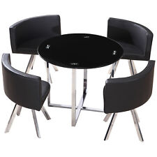Chrome & Black Glass Round Dining Table and Chair Set with 4 Leather Seats