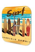 Nostalgic Wall Clock Vintage  Surfboards surfing beach Hawaii Acryl Acrylglass