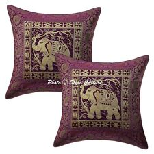 Indian Brocade Jacquard Sofa Cushion Cover Purple Elephant Pillow Cover