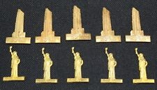 10pcs (5) Vintage * STATUE OF LIBERTY * (5) ROCKEFELLER CENTER New York * Brass