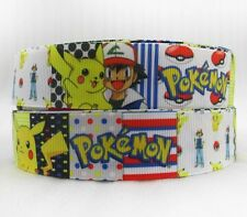 "BTY 1"" Colorful Pokemon Cartoon Grosgrain Ribbon Hair Bows Lanyards Lisa"
