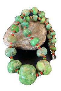 Chunky Native American Green Turquoise  Coral Sterling Silver Necklace 01843