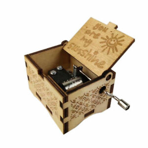 """Wood Music Box """"You Are My Sunshine"""" Engraved Queen Musical Case Toy Kids Gift"""