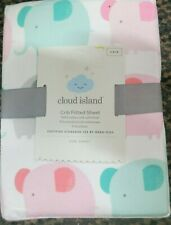 Cloud Island Pink Elephants Fitted Crib Sheet girls nursery bedding new #8963
