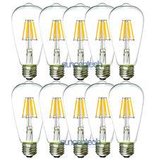 10x ST64 6W=60W 600Lumen Dimmable E26 110V Warm White LED Lamp Bulb Edison Light