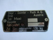 Typenschild Steyr Puch AG Schild id-plate Maxi Moped Mofa s35