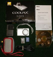 Nikon Coolpix S203 10MP Digital Camera 3x Optical Zoom Complete in Box w/ extra