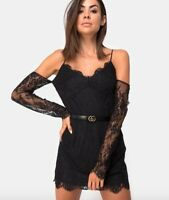 BNWT MOTEL ROCKS @ TOPSHOP Black floral lace cold shoulder dress size M 12 40