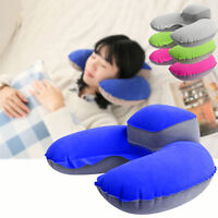 Inflatable Travel Pillow Air Cushion Neck Rest U-Shape Compact Plane Flight New