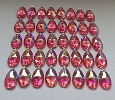 50 pcs x Sew On 7x12 mm Acrylic  Rhinestones Pale Red AB Color Teardrop Shape