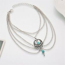 Beads Adjustable Perfect for Beach *Uk* Silver Foot Anklet Multi Layer Turquoise