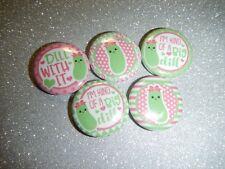 "5 Cute Dill Pickle Foodie Kawaii 1"" Pinback Button Pin Badge Set"