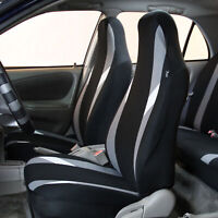 Highback Car Seat Covers For Auto SUV Van Coupe Front Bucket Gray Black